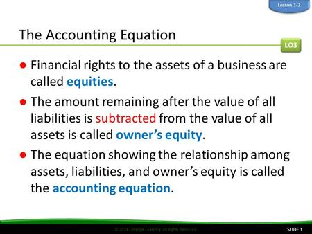 © 2014 Cengage Learning. All Rights Reserved. The Accounting Equation ●Financial rights to the assets of a business are called equities. ●The amount remaining.