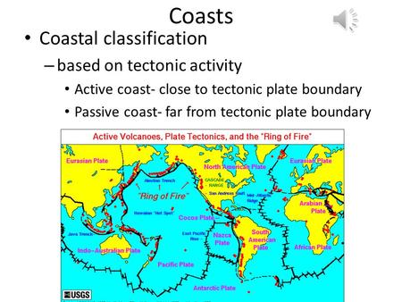 Coasts Coastal classification – based on tectonic activity Active coast- close to tectonic plate boundary Passive coast- far from tectonic plate boundary.