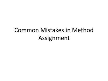 Common Mistakes in Method Assignment. Title Page (Pg. 41) Running head: Abbreviated Title (no more than 50 spaces) Title (no more than 12 words) Name.
