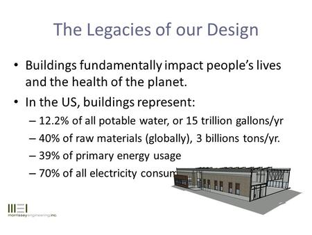 The Legacies of our Design Buildings fundamentally impact people's lives and the health of the planet. In the US, buildings represent: – 12.2% of all potable.