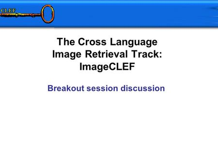 The Cross Language Image Retrieval Track: ImageCLEF Breakout session discussion.