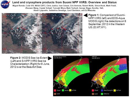 Land and cryosphere products from Suomi NPP VIIRS: Overview and Status Miguel Román, Code 619, NASA GSFC; Chris Justice, Ivan Csiszar, Eric Vermote, Robert.