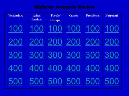 Midterm Jeopardy Review VocabularyAsian Leaders People/ Groups CausesPresidentsPotpourri 100 200 300 400 500.