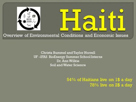 54% of Haitians live on 1$ a day 78% live on 2$ a day Christa Rummel and Taylor Norrell UF –IFAS BioEnergy Summer School Interns Dr. Ann Wilkie Soil and.