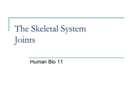 The Skeletal System Joints Human Bio 11. Joints The point (place) where the bones meet. There are five types of joints.