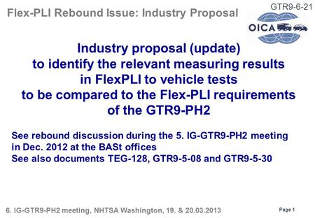 GTR9-6-21 Industry proposal (update) to identify the relevant measuring results in FlexPLI to vehicle tests to be compared to the Flex-PLI requirements.