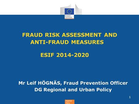 FRAUD RISK ASSESSMENT AND ANTI-FRAUD MEASURES ESIF