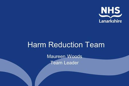 Harm Reduction Team Maureen Woods Team Leader. Service Delivery Aims Develop harm reduction initiatives in partnership with other agencies to reduce the.