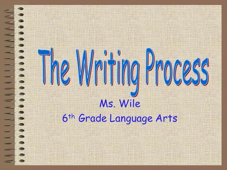 Ms. Wile 6 th Grade Language Arts What is your writing process? How do you write? What steps do you take to complete a writing assignment?