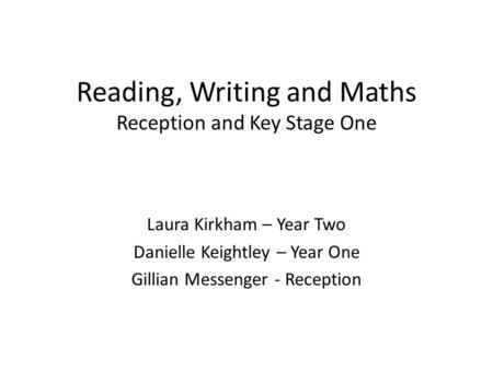 Reading, Writing and Maths Reception and Key Stage One