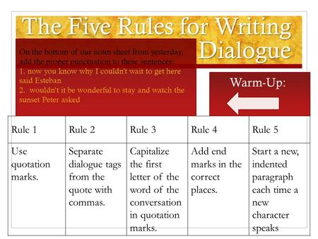 The Five Rules for Writing Dialogue Rule 1Rule 2Rule 3Rule 4Rule 5 Use quotation marks. Separate dialogue tags from the quote with commas. Capitalize.