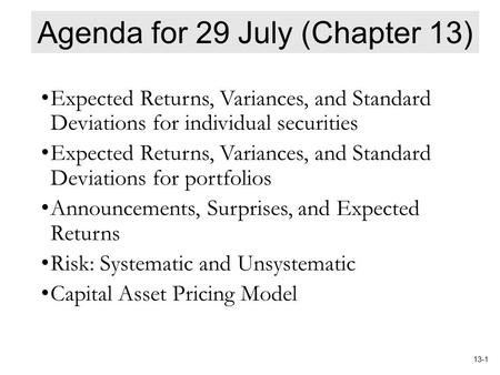 Agenda for 29 July (Chapter 13)