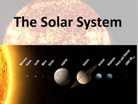 The Solar System. The Sun Temperatures: – core is 15,000,000 C – corona is 5,000 C Evidence of water? – yes What is the atmosphere made of? – hydrogen.