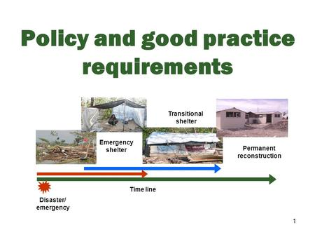 1 Policy and good practice requirements Time line Disaster/ emergency Emergency shelter Transitional shelter Permanent reconstruction.