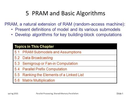 Slide 1 5 PRAM and Basic Algorithms PRAM, a natural extension of RAM (random-access machine): Present definitions of model and its various submodels Develop.