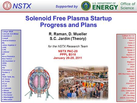 Solenoid Free Plasma Startup Progress and Plans R. Raman, D. Mueller S.C. Jardin (Theory) for the NSTX Research Team NSTX PAC-29 PPPL B318 January 26-28,