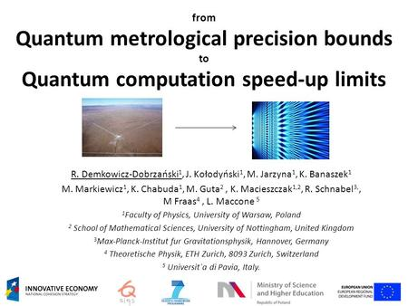 From Quantum metrological precision bounds to Quantum computation speed-up limits R. Demkowicz-Dobrzański 1, J. Kołodyński 1, M. Jarzyna 1, K. Banaszek.