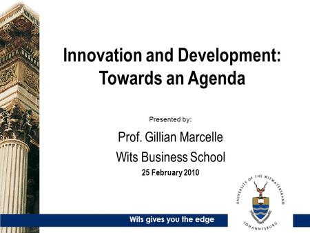 Innovation and Development: Towards an Agenda Presented by: Prof. Gillian Marcelle Wits Business School 25 February 2010.