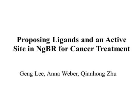 Proposing Ligands and an Active Site in NgBR for Cancer Treatment Geng Lee, Anna Weber, Qianhong Zhu.