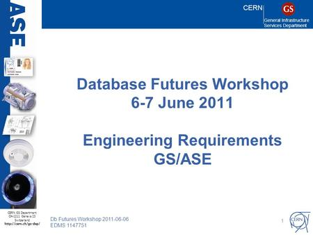 CERN General Infrastructure Services Department CERN GS Department CH-1211 Geneva 23 Switzerland  Db Futures Workshop 2011-06-06.