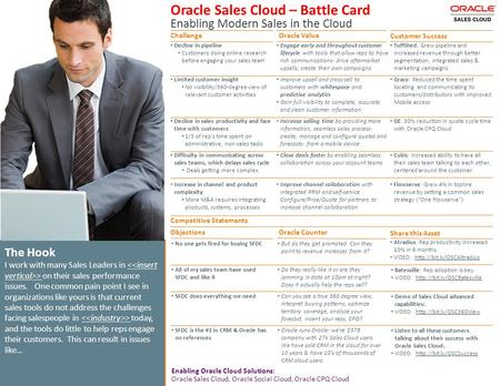 Oracle Sales Cloud – Battle Card Enabling Modern Sales in the Cloud