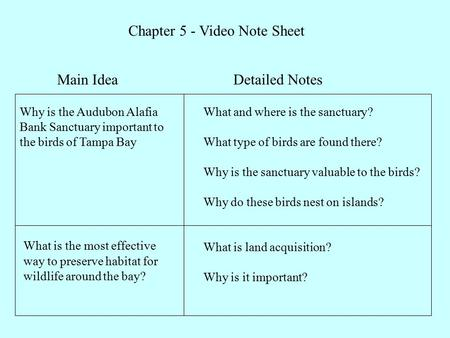 Chapter 5 - Video Note Sheet Main Idea Why is the Audubon Alafia Bank Sanctuary important to the birds of Tampa Bay What is the most effective way to preserve.