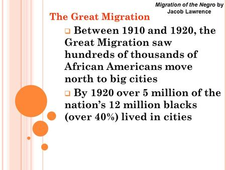 The Great Migration  Between 1910 and 1920, the Great Migration saw hundreds of thousands of African Americans move north to big cities  By 1920 over.