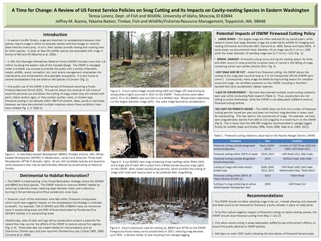 A Time for Change: A Review of US Forest Service Policies on Snag Cutting and its Impacts on Cavity-nesting Species in Eastern Washington Teresa Lorenz,