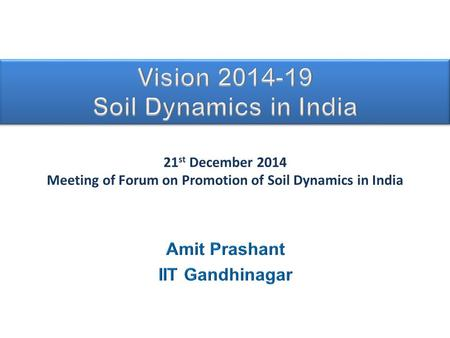 21 st December 2014 Meeting of Forum on Promotion of Soil Dynamics in India.