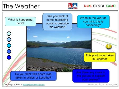 NGfL CYMRU GCaD www.ngfl-cymru.org.uk The Weather Are there any clues in the picture to support your answer? Can you think of some interesting words to.