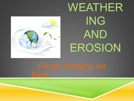 WEATHER ING AND EROSION …Forces changing our Earth.
