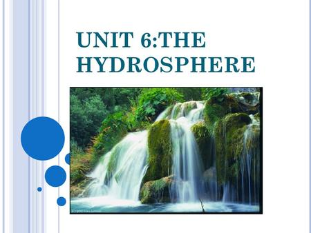 UNIT 6:THE HYDROSPHERE. T HE HYDROSPHERE The hydrosphere is all the water on the surface of the Earth. Water is made up of two atoms of hydrogen and one.