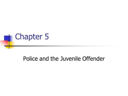 Chapter 5 Police and the Juvenile Offender. Juvenile Justice: Theory, Systems, and Organization Houston/Barton Prentice Hall © 2005 Pearson Education,