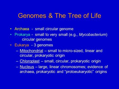 Genomes & The Tree of Life