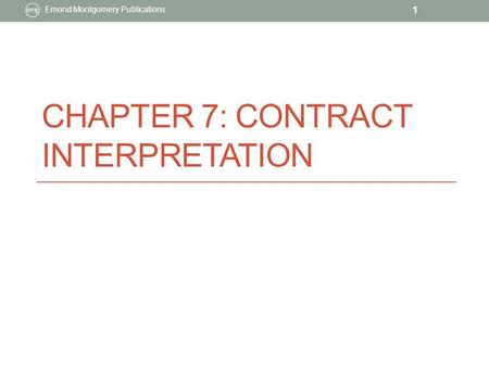 Chapter 7: Contract Interpretation