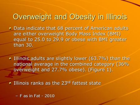 Overweight and Obesity in Illinois Data indicate that 68 percent of American adults are either overweight Body Mass Index (BMI) equal to 25.0 to 29.9 or.