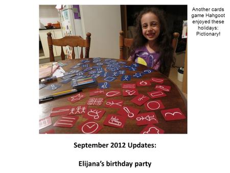 September 2012 Updates: Elijana's birthday party Another cards game Hahgoot enjoyed these holidays: Pictionary!