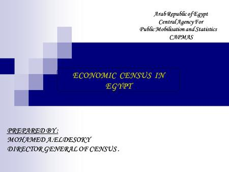 ECONOMIC CENSUS IN EGYPT PREPARED BY : MOHAMED A.ELDESOKY DIRECTOR GENERAL OF CENSUS. Arab Republic of Egypt Central Agency For Public Mobilisation and.