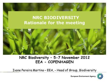 NRC BIODIVERSITY Rationale for the meeting NRC Biodiversity – 5-7 November 2012 EEA - COPENHAGEN Ivone Pereira Martins – EEA, - Head of Group, Biodiversity.