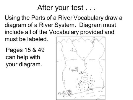 After your test... Using the Parts of a River Vocabulary draw a diagram of a River System. Diagram must include all of the Vocabulary provided and must.