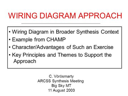 WIRING DIAGRAM APPROACH Wiring Diagram in Broader Synthesis Context Example from CHAMP Character/Advantages of Such an Exercise Key Principles and Themes.