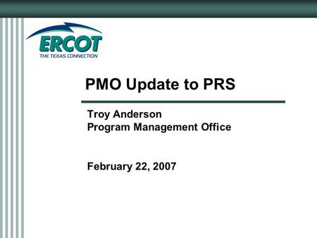 PMO Update to PRS Troy Anderson Program Management Office February 22, 2007.