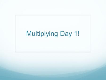 Multiplying Day 1!. Instructions Today you will use the following slides to practice multiplication using the box method. Remember that with the box method,