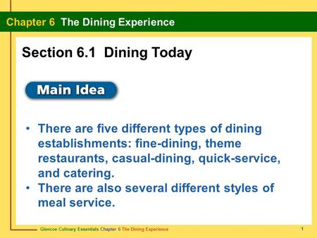Section 6.1 Dining Today There are five different types of dining establishments: fine-dining, theme restaurants, casual-dining, quick-service, and catering.