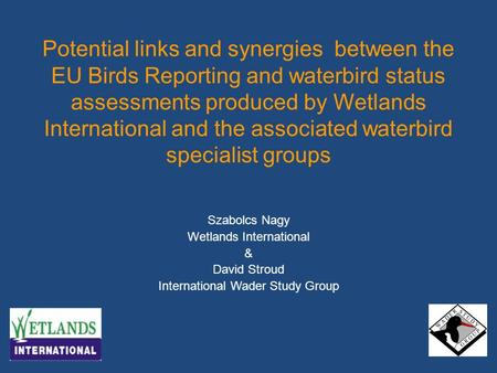 Potential links and synergies between the EU Birds Reporting and waterbird status assessments produced by Wetlands International and the associated waterbird.