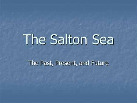 The Salton Sea The Past, Present, and Future. What is the Salton Sea? A huge salt water lake located in the Salton Basin in south central California A.