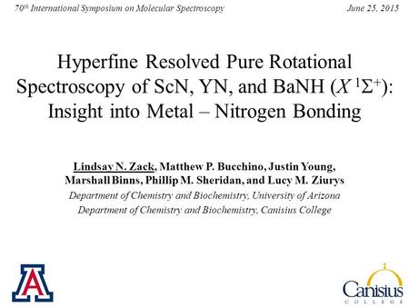 June 25, 2015 70 th International Symposium on Molecular Spectroscopy Hyperfine Resolved Pure Rotational Spectroscopy of ScN, YN, and BaNH (X 1  + ):