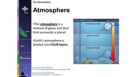 <strong>Atmosphere</strong> <strong>The</strong> <strong>Atmosphere</strong> <strong>The</strong> <strong>atmosphere</strong> is a mixture <strong>of</strong> gases and dust that surrounds a planet. Earth's <strong>atmosphere</strong> is divided into FOUR <strong>layers</strong>.