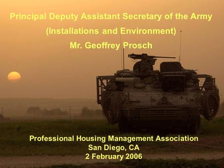 Principal Deputy Assistant Secretary of the Army