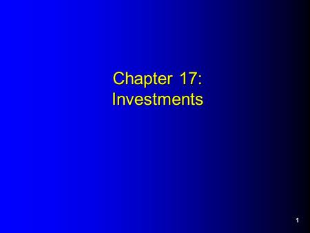 Chapter 17: Investments 1. 2 Investment in Marketable Equity Securities - Overview Equity investments represent ownership of another company's outstanding.